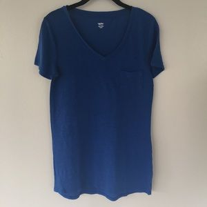 Long Blue V-Neck T-Shirt